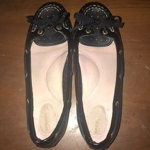Sperry Top Sider Black Bow Tie Flats